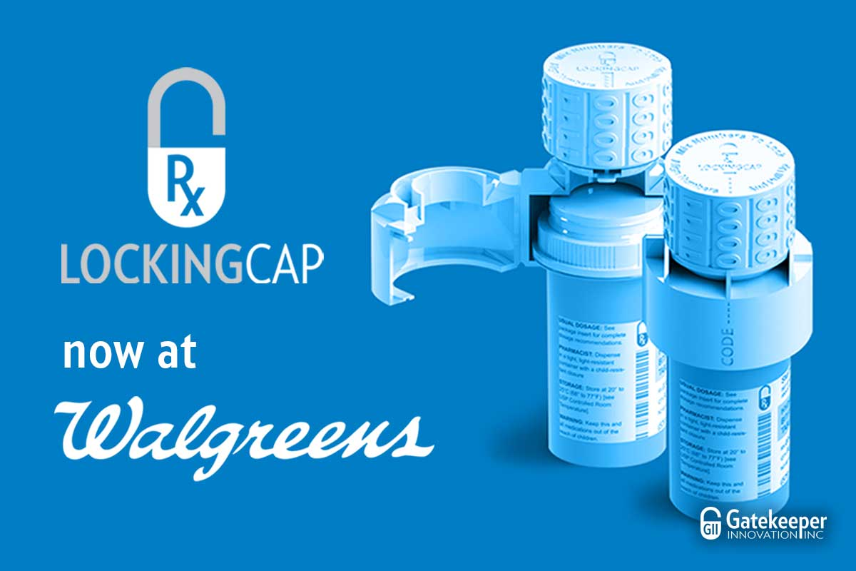 Image of Gatekeeper Innovation's Rx Locking Cap product. Rx Locking Cap is now available at Walgreens.